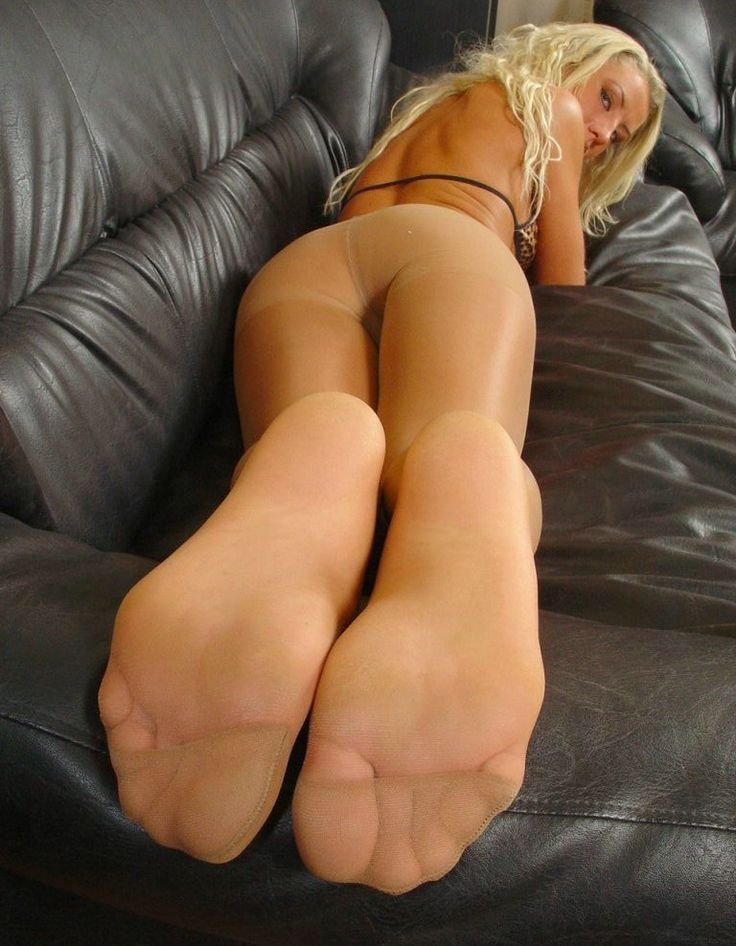 Closeup pictures of tan pantyhose