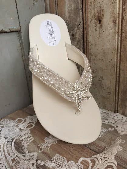 460e5bd1f Destination Wedding Custom Beaded Bridal Wedge by LaBoutiqueBride. Starfish  Truly elegant beach or reception wedge flip flop! Embellished with a  rhinestone ...