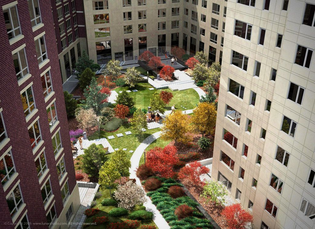Apartment Building Courtyard trilogy boston apartment building and courtyard visualization