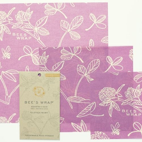 NEW Bee's Wrap Assorted 3-Pack Clover Print