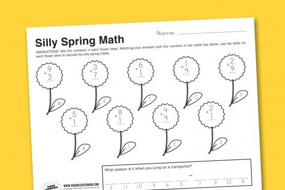 Worksheets for the kiddos / silly spring math - decoding a secret ...