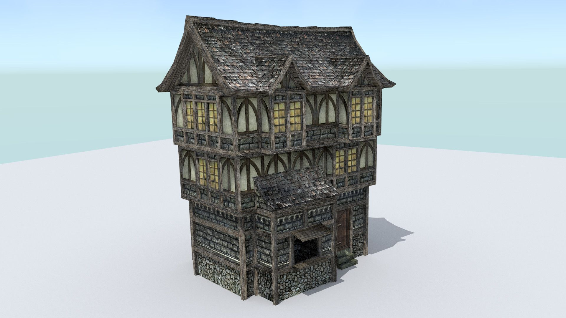 Elegant Medieval Town Builder Houses 3d Model Design Ideas