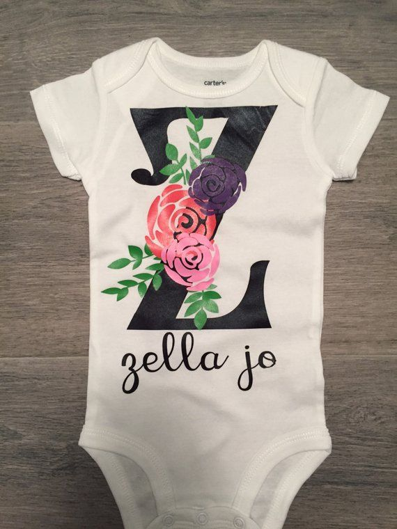 ad46a320624 Floral Monogram Personalized Onesie®