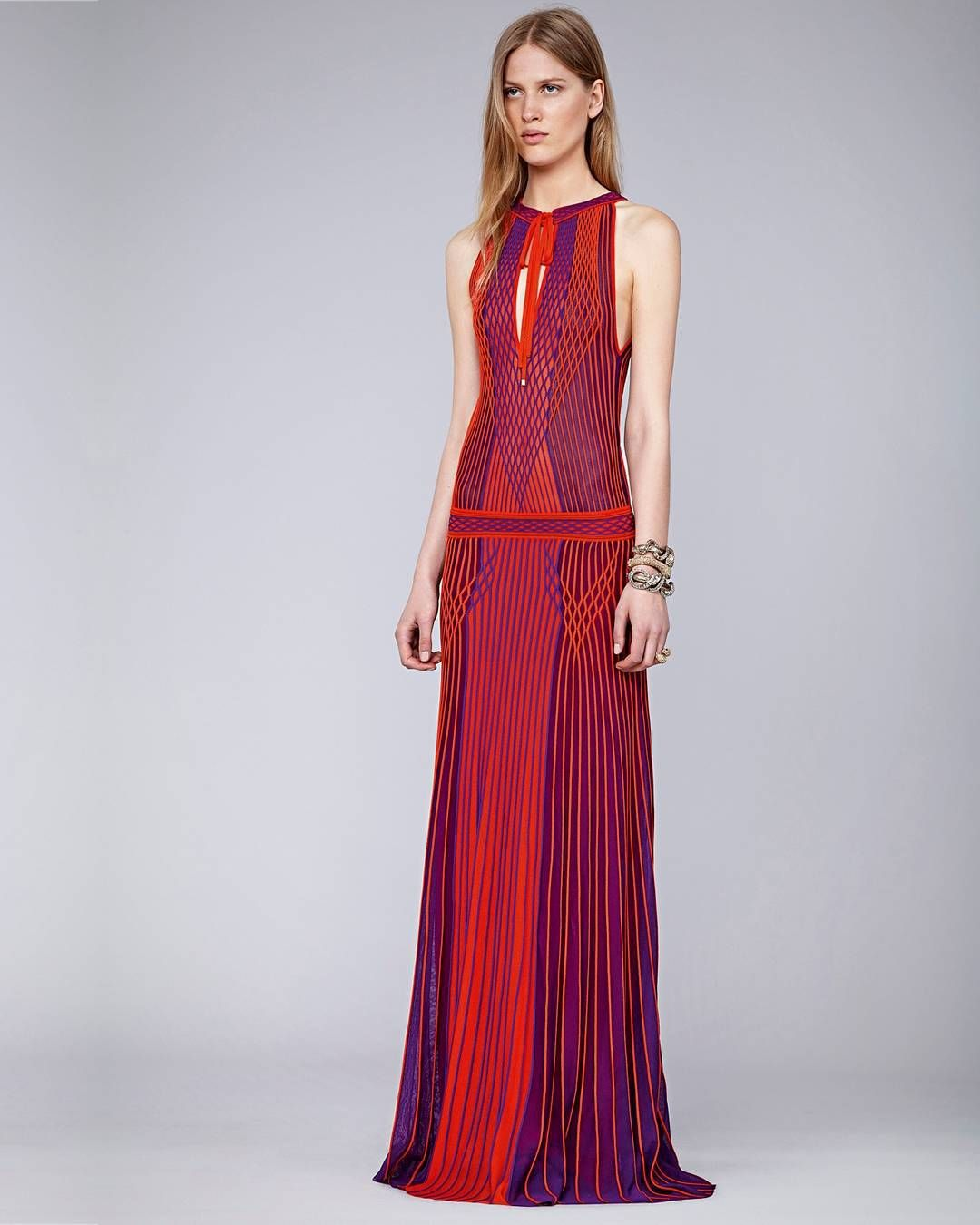 """""""Get inspired by this stylish #RobertoCavalliSS16 long dress. Shop now through the link in bio."""""""