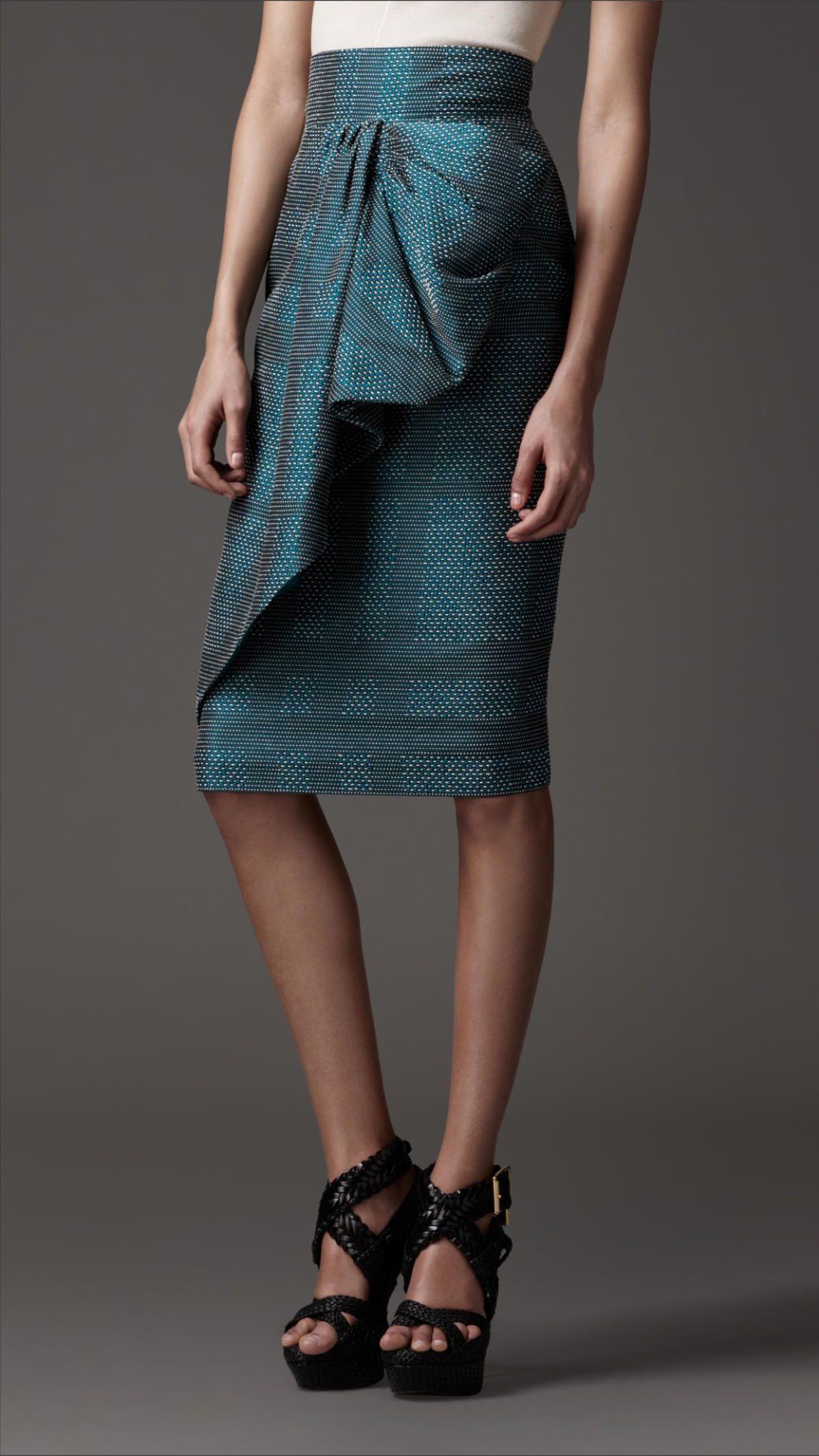 Burberry London draped front pencil skirt