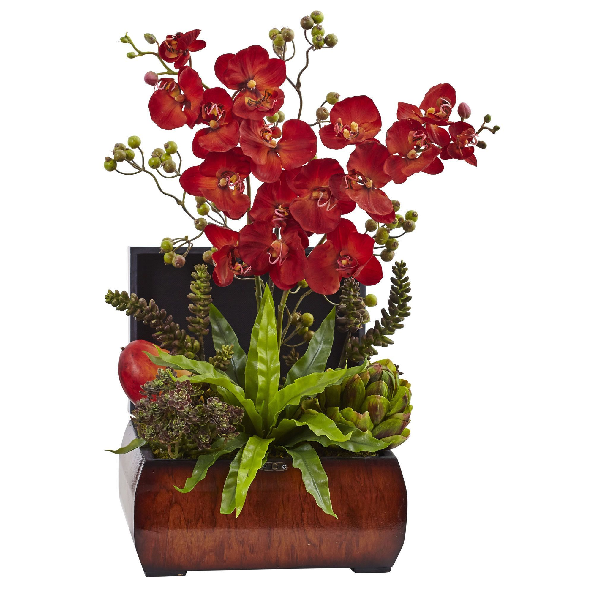 Nearly natural autumn orchid u succulent arrangement wchest decor