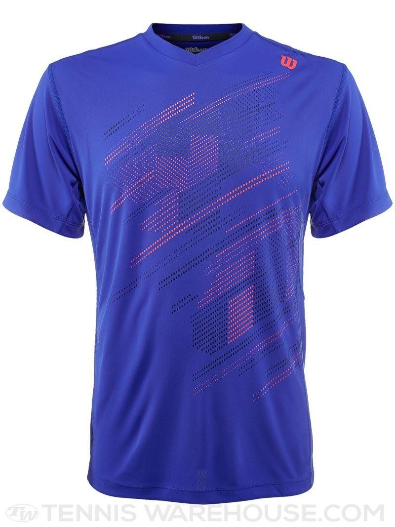 f2f2b13bb6 Wilson Men's Summer Blur V-Neck Tennis Crew (Blue) | Men's Tennis ...