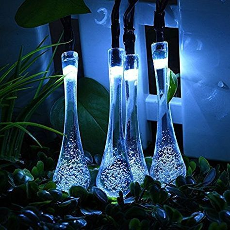 21ft 30 Led Garden Solar String Lights  Fairy Water Drop Outdoor - solar christmas decorations