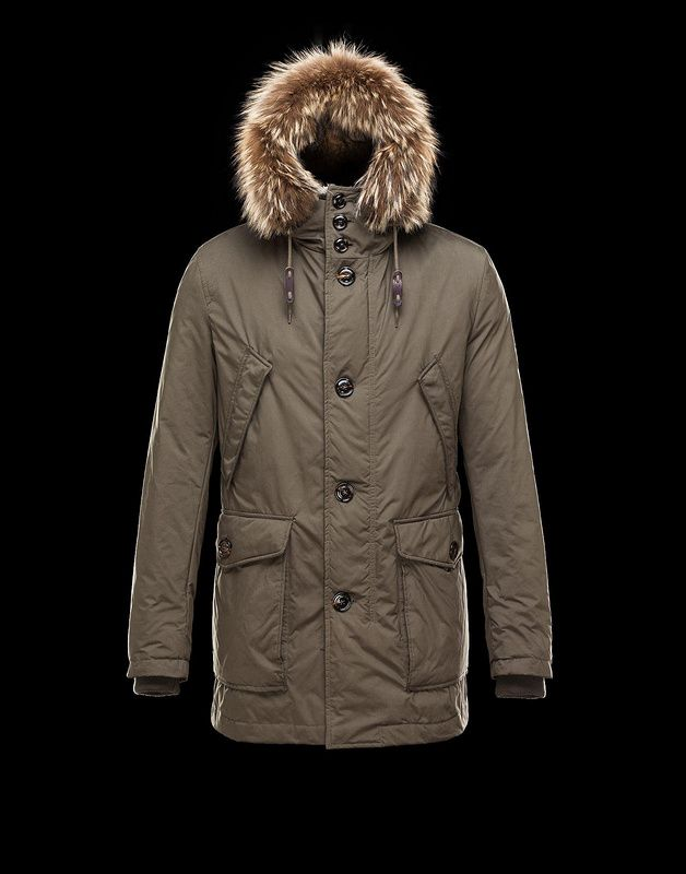 Moncler Chateaubriant Hood With Fur Edging & Interior Coat Kahki Online Sale