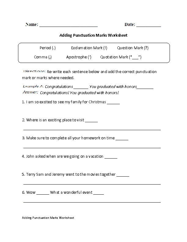 Adding Punctuation Marks Worksheet – Grammar Worksheets 6th Grade