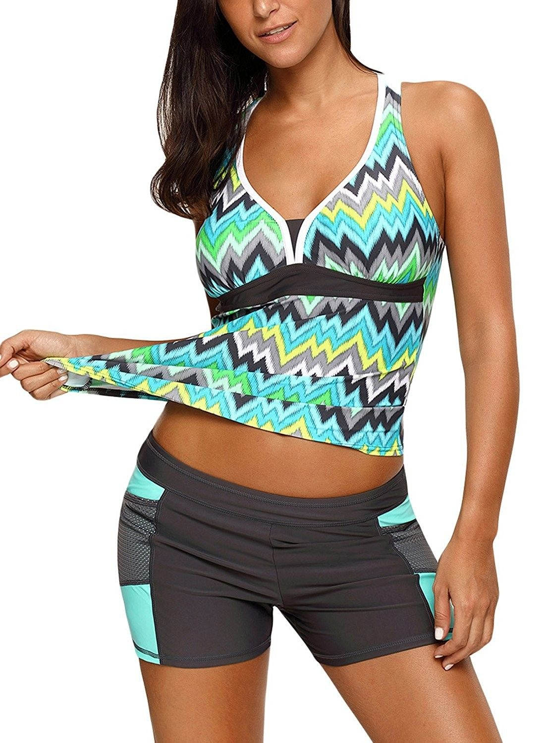efe53bc557 Women's Clothing, Swimsuits & Cover Ups, Tankinis, Womens Color Block  Printed Racerback Tankini Swimsuits With Shorts - Green - CV188Q8CDC9  #women #fashion ...