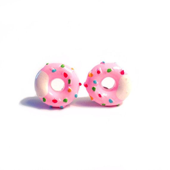 Pink Donut Earrings - Silver Plated Stud Posts, 13mm Resin Kawaii Charms, Sprinkles, White Icing, Cupcakes, Cake, Dessert, Doughnuts, Kitsch...