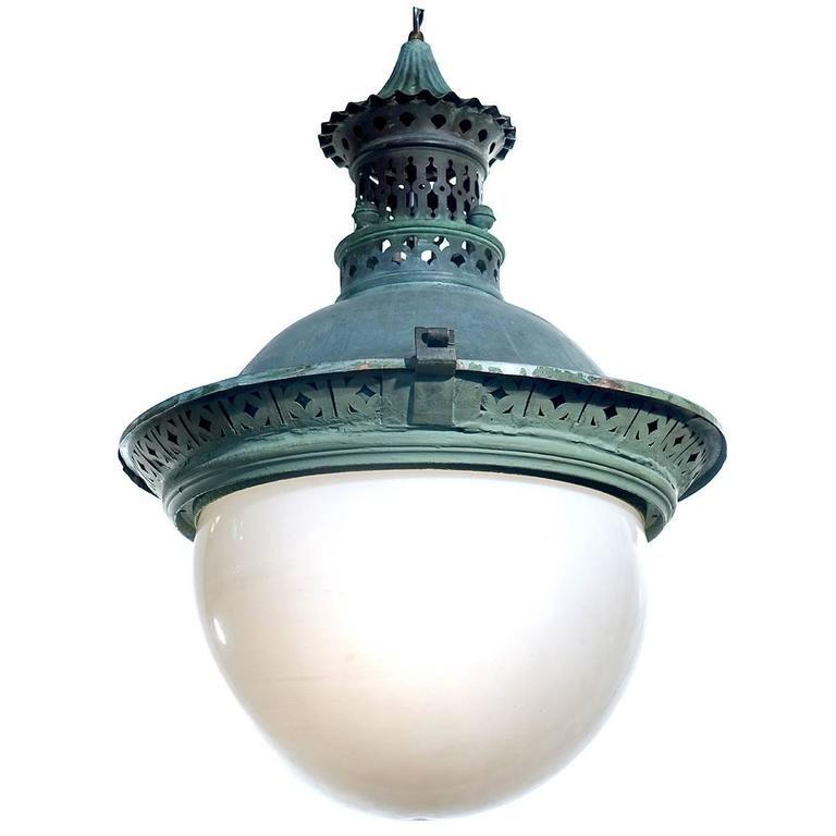 Ornate Copper 19th Century European Street Lamp Street Lamp Chandelier Pendant Lights Lamp