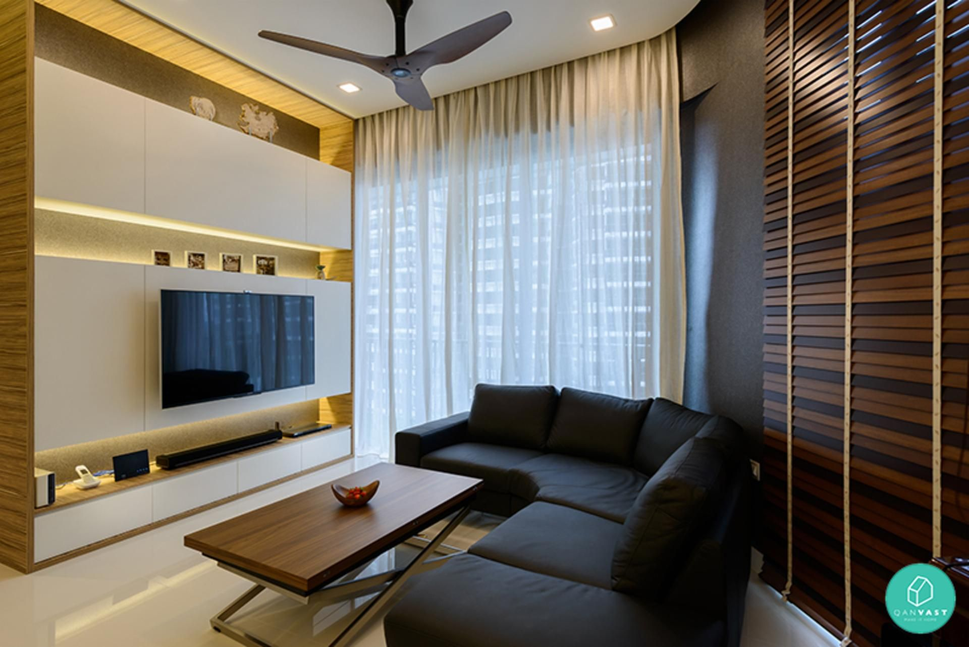 Living Room, Modern Industrial, Living Gaia Interior Pte Ltd, Wooden Table  With Corner Sofa, Grey U0026 White