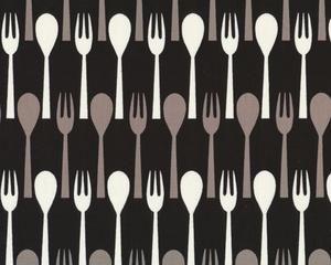 """Patchworkstoff """"Table Dance"""" mit Gabel und Löffel, schwarz"""