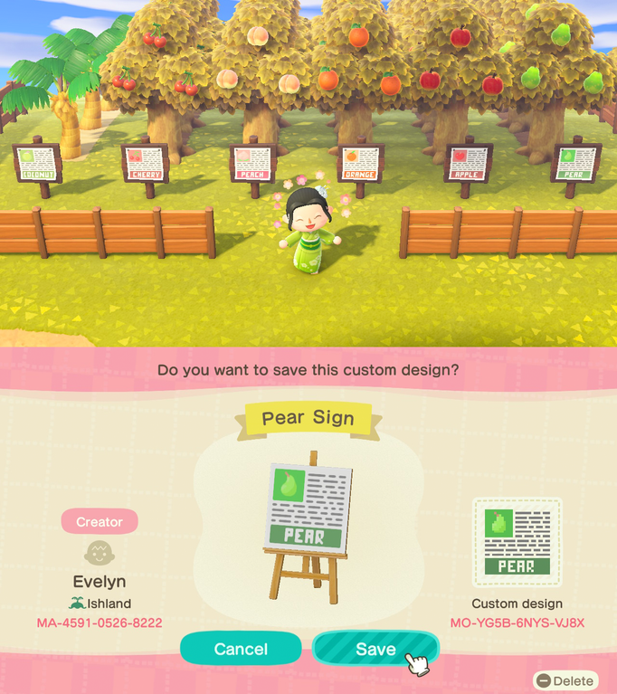 Fruit Signs With Info For Your Orchard Includes One For Coconut Trees Acqr Animal Crossing Fruit Animals Animal Crossing Villagers