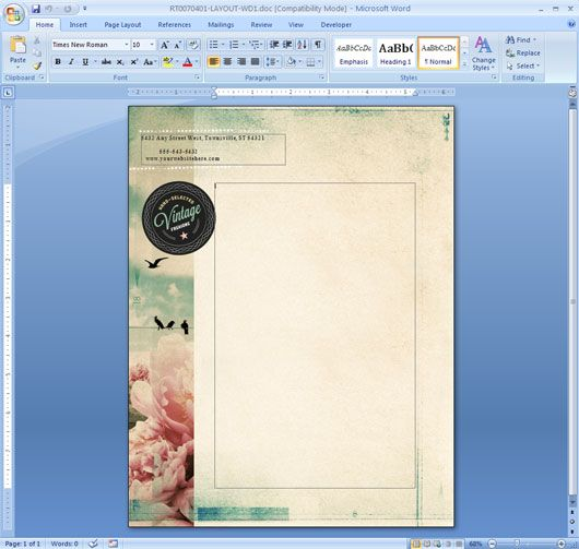 background templates for microsoft word Printable Tree Branch