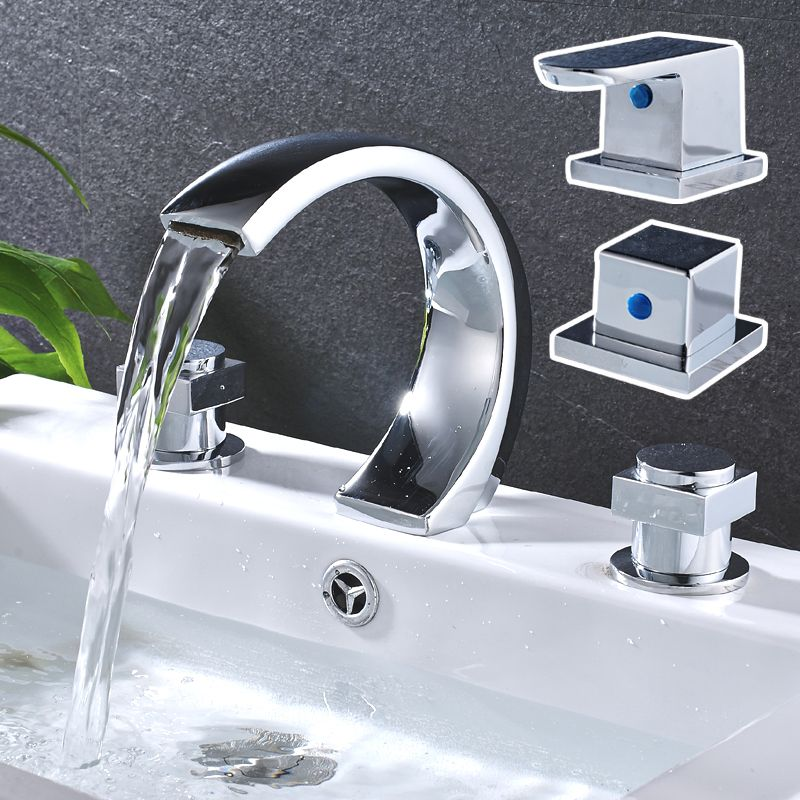 Basin Faucet 3 Hole Dual Handle Widespread Waterfall Sink Faucet ...