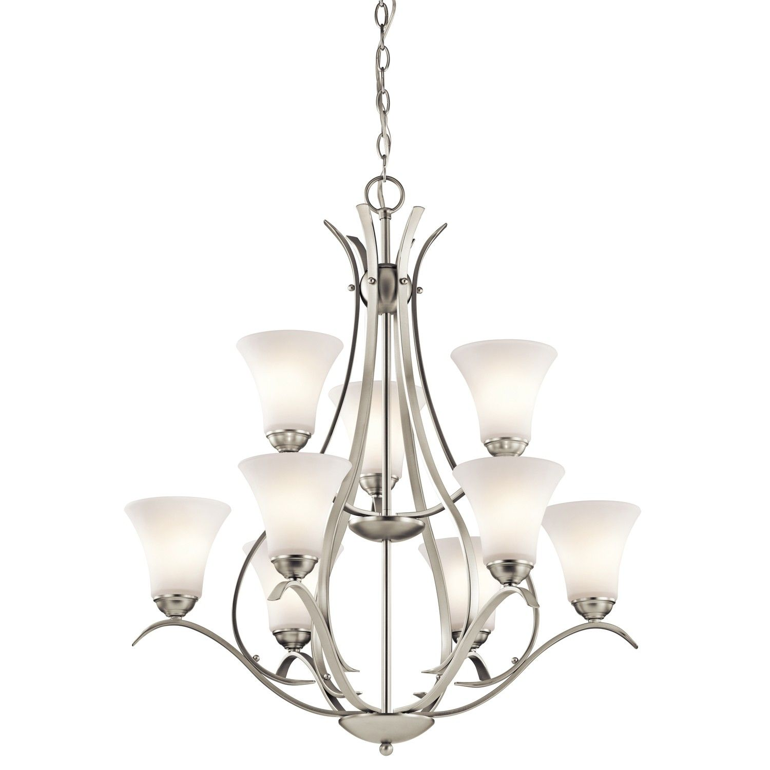 Standard Two Story Foyer Light Keiran 9 Chandelier In Brushed Nickel
