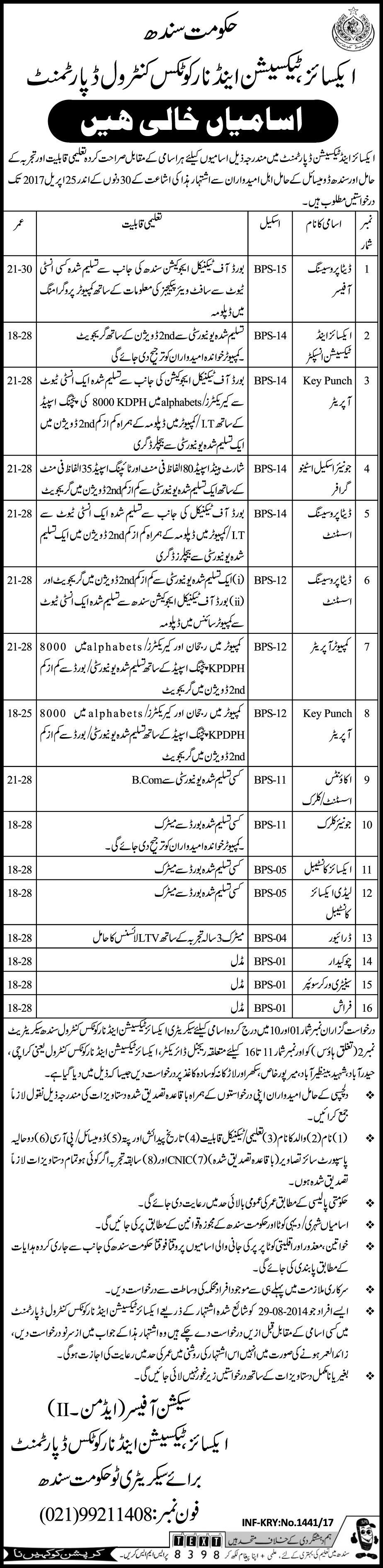 new jobs in Excise Taxation And Narcotics Control Department | Jobs ...