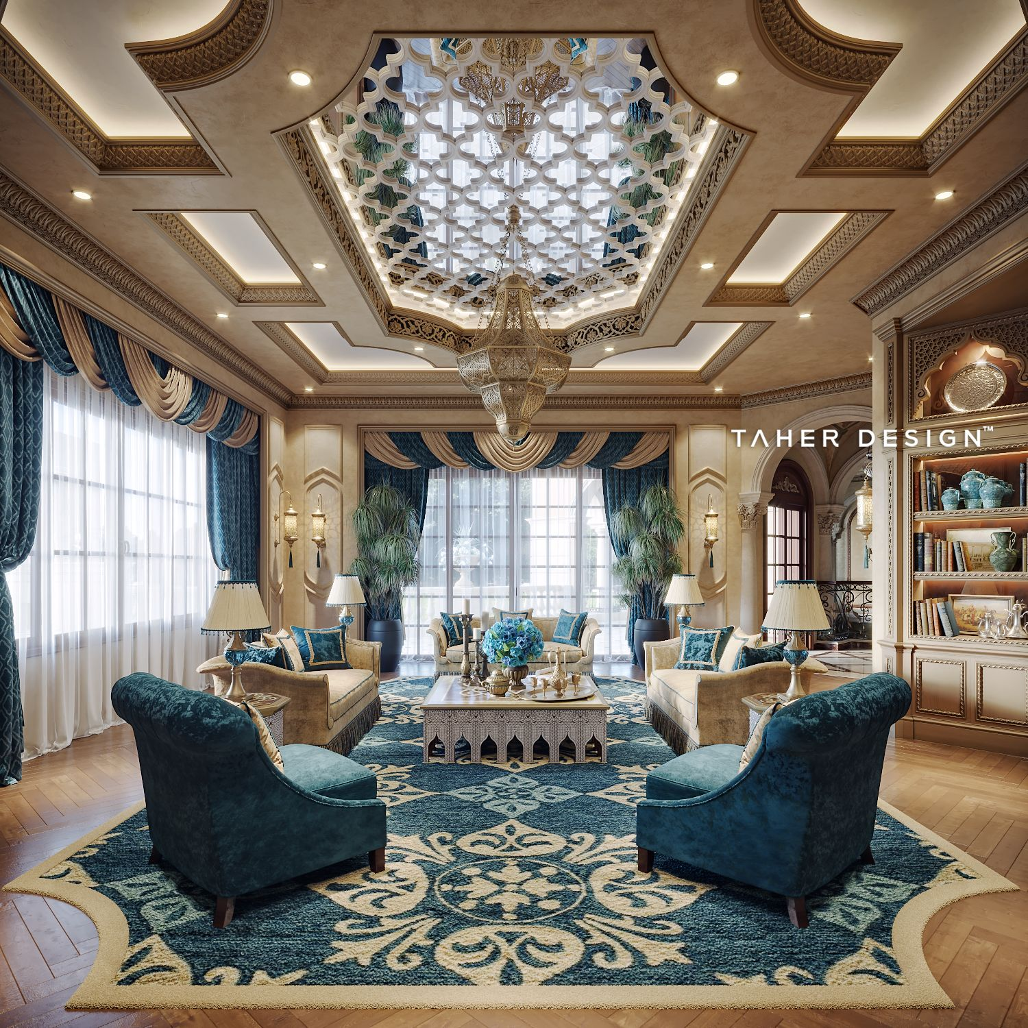 Family Room Design For Luxury Mansion Located In Dubai
