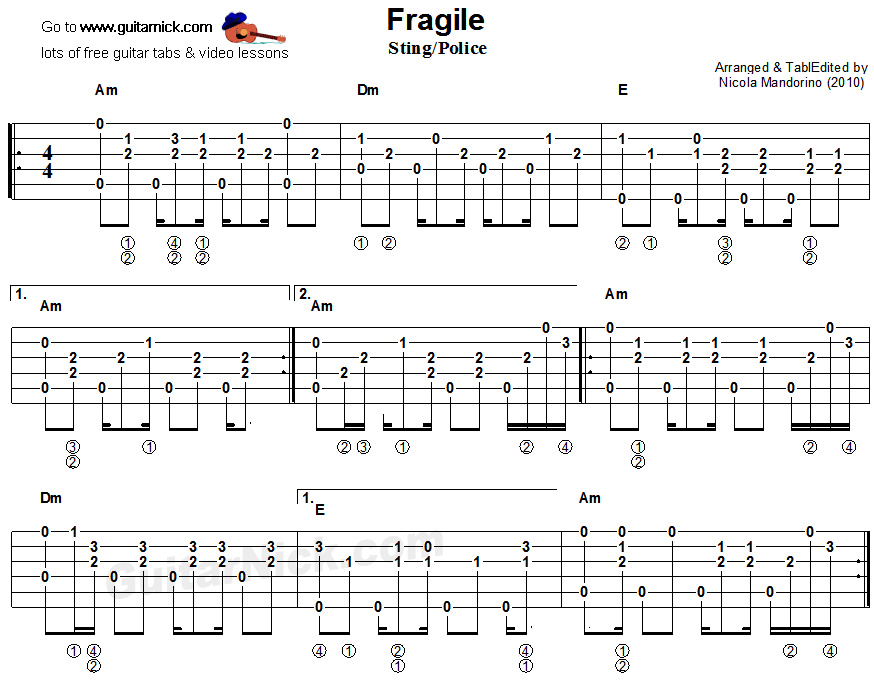 Stingray Bass Fingerstyle : fragile sting police fingerstyle guitar tab 1 guitar pinterest guitars fingerstyle ~ Hamham.info Haus und Dekorationen