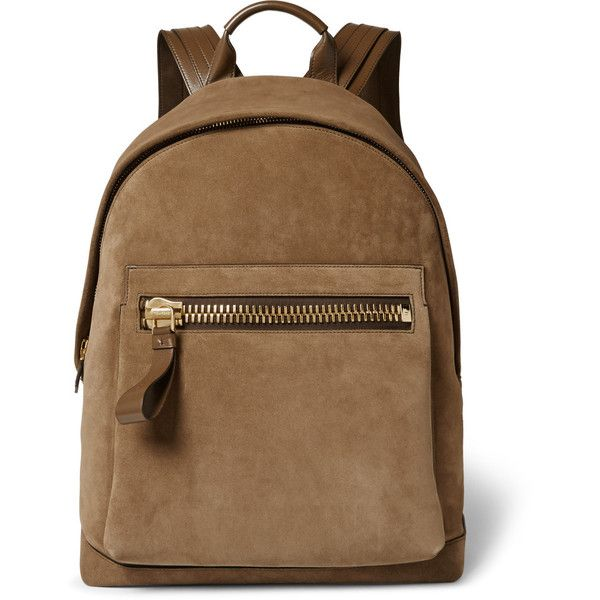 Tom Ford Buckley Leather-Trimmed Suede Backpack ($1,395) ❤ liked ...