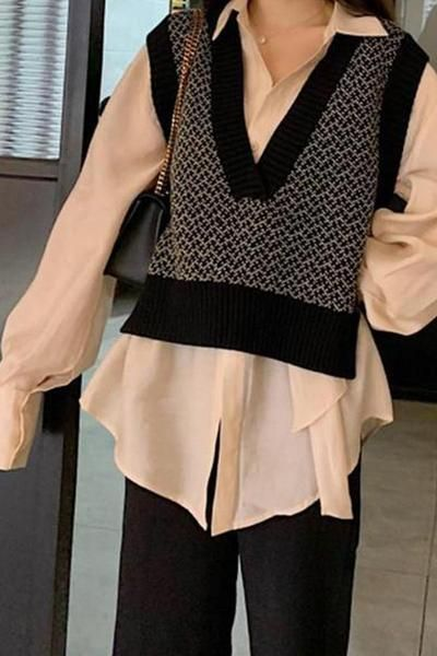 Photo of Casual Loose V Neck Knitted Sweater Vest