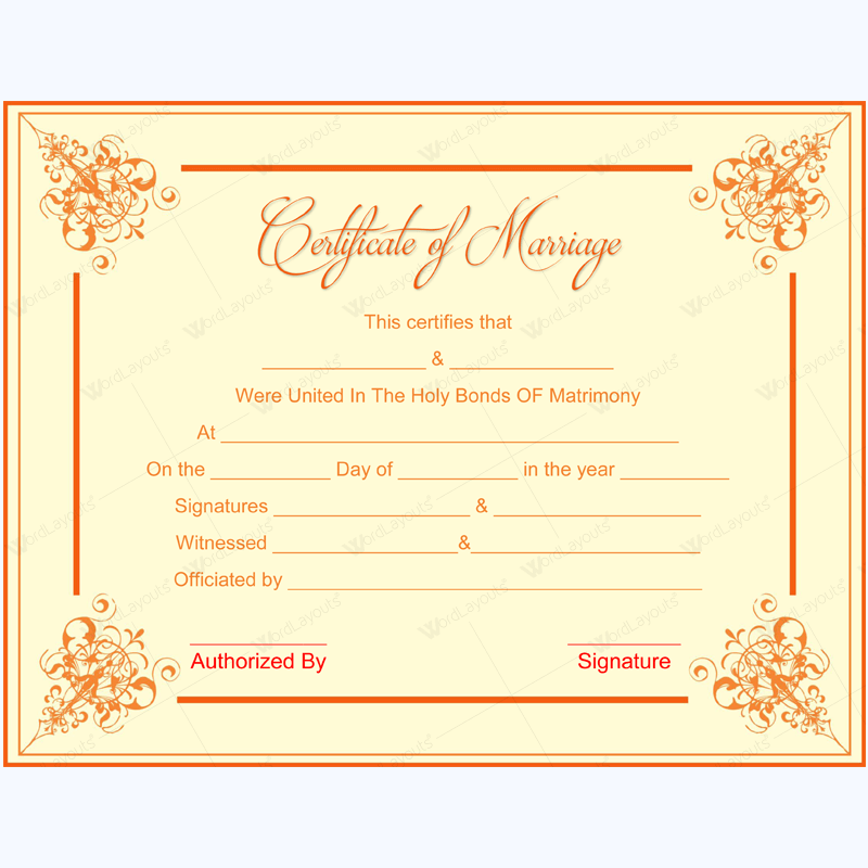 Marriage Certificate 1 Certificate And Template