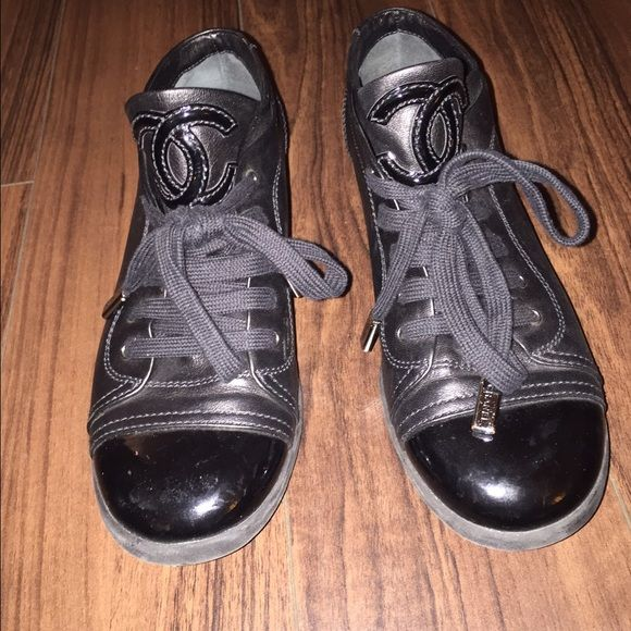 CC Sneakers Leather CC Sneaked with Patent Leather Accents CHANEL Shoes Sneakers