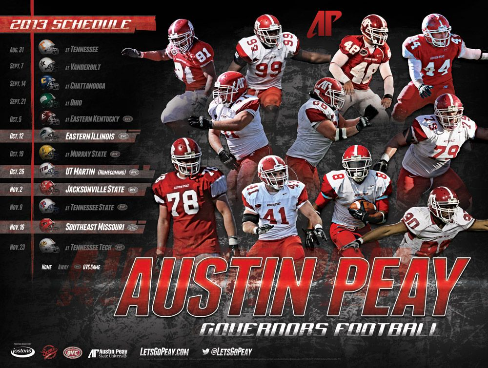 Austin peay governors football poster 2013 athletic