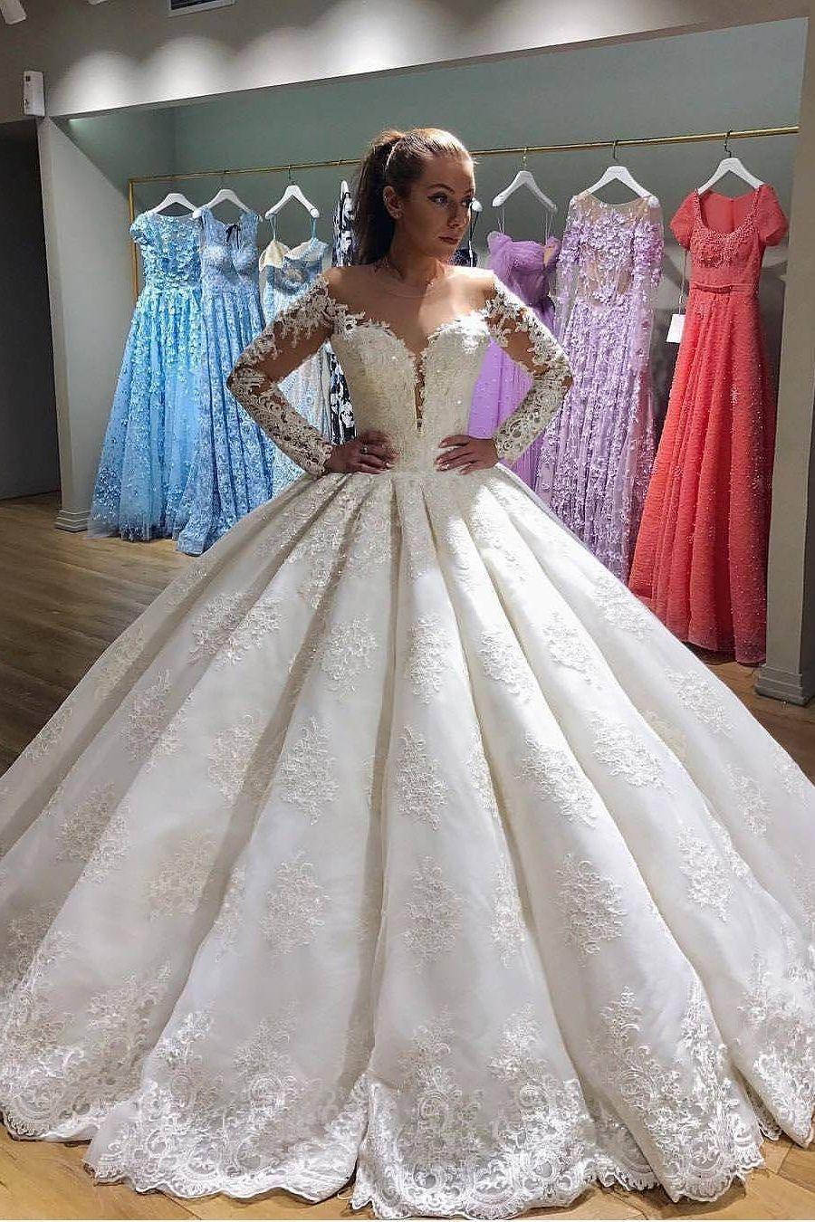 2019 Scoop Long Sleeves Ballkleid Brautkleider Tüll mit Applikation Sweep Zug #tulleballgown