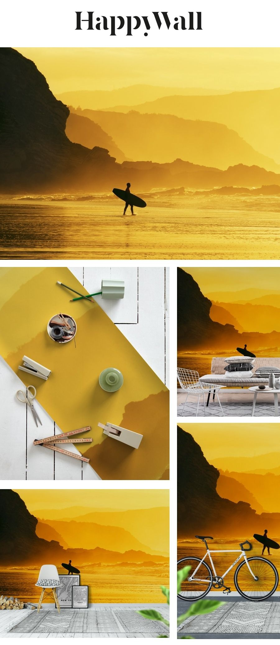 Surfer sunset Wall mural Sunset wallpaper, Wall murals