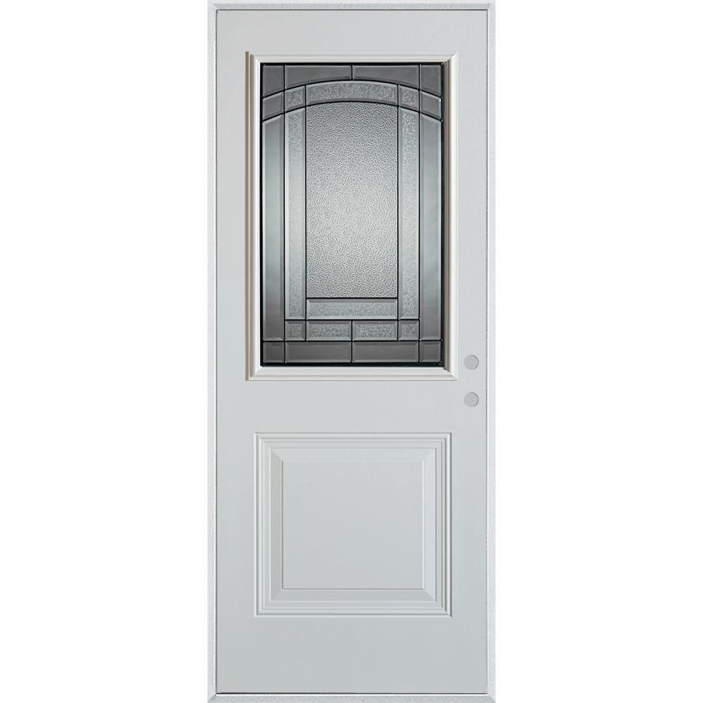 Stanley Doors 36 In X 80 In Chatham Patina 1 2 Lite 1 Panel Painted White Left Hand Inswing Steel Prehung Front Door Prefinished White Patina Glass Doors Exterior Doors Tall Cabinet Storage
