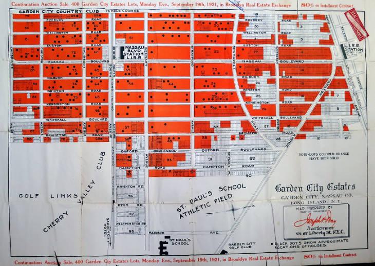 Auction Brochure Garden City Estates Map Side Garden City Public Library New York Heritage Digital Collections Garden City