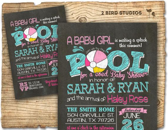 pool party baby shower invitation summer baby shower coed baby shower invitation bbq baby q pool party invitation chalkboard girl