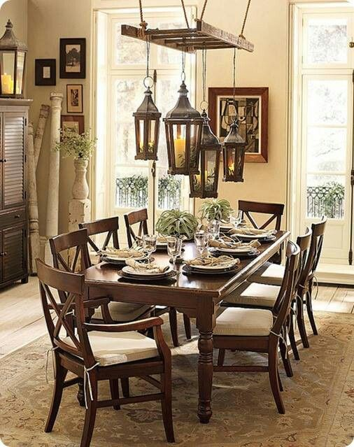 Using Ladder To Hang Lanterns Over Table Pottery Barn Dining Room Home Home Decor
