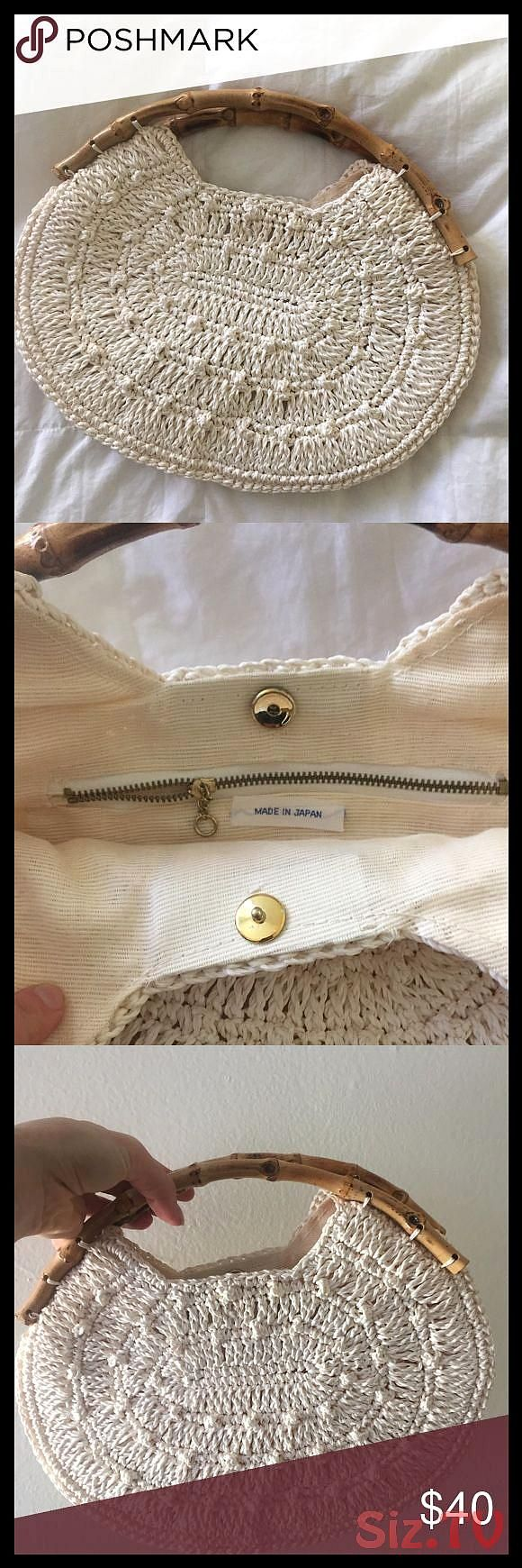 Vintage macramhandbag Vintage macramhandbag with bamboo handles Nice off white light cream color Lined with an inside zipper pocket Brass clVintage macramhandbag Vintage...