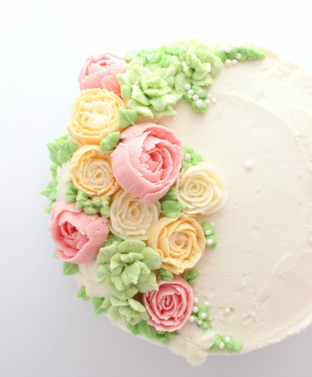Cake Decorating Cream Flowers : Buttercream Flower Cake Buttercream flowers, Decorating ...