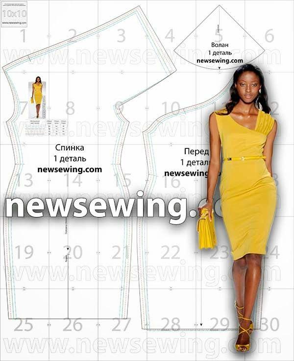 Patrón gratis: vestido con escote asimétrico | Krawiectwo damskie ...