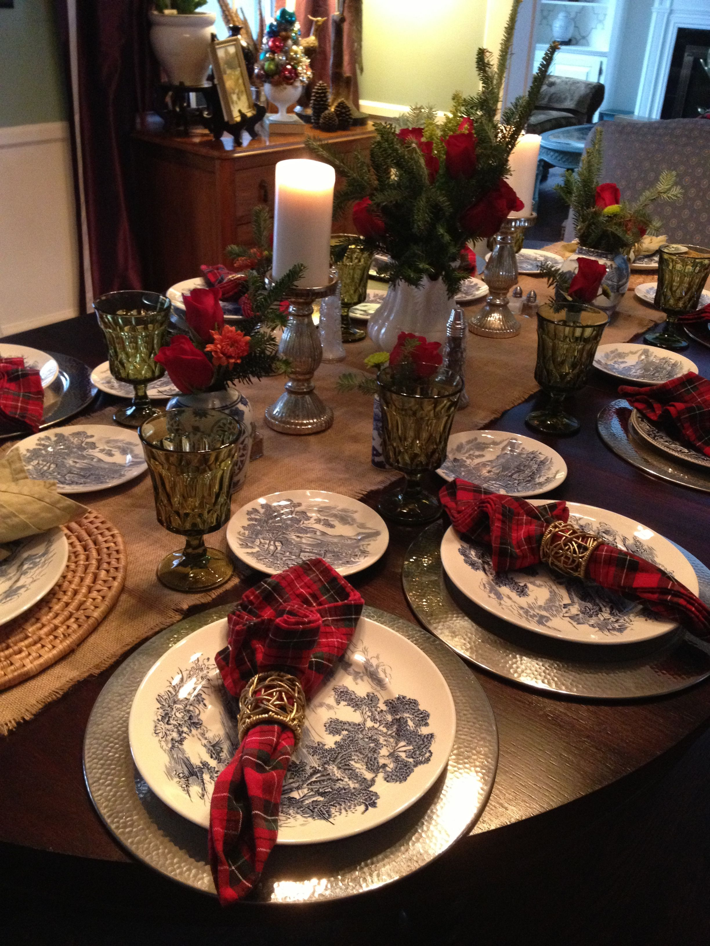 Love The Traditional Blue And White With Christmas Plaid Classic Christmas Table Decorations Christmas Table Simple Christmas Decor