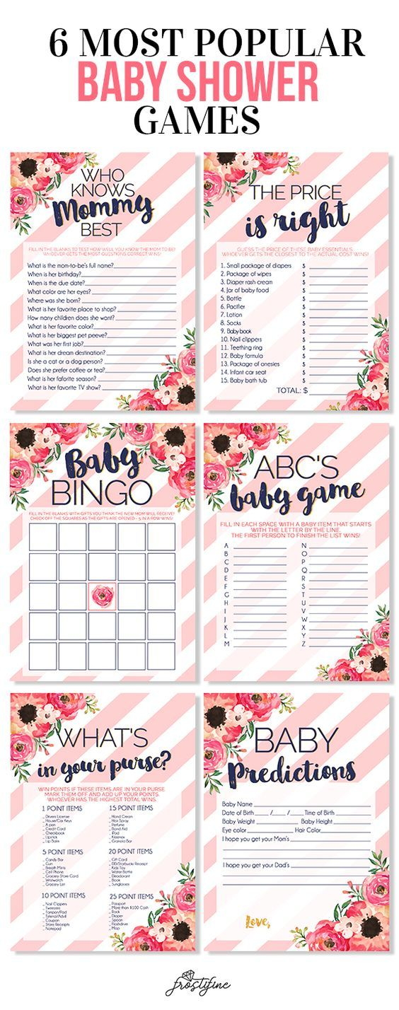 Its A Girl Baby Shower Game Card Set Blush Pink And Navy Blue With