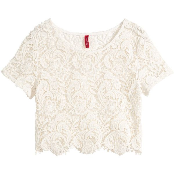 ec15ab52519 H&M Lace crop top ($8.21) ❤ liked on Polyvore featuring tops ...