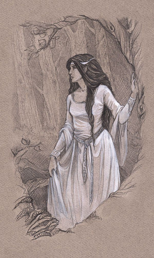 Aredhel the White, sister of Fingon and Turgon, daughter of Fingolfin, walking through Nan Elmoth