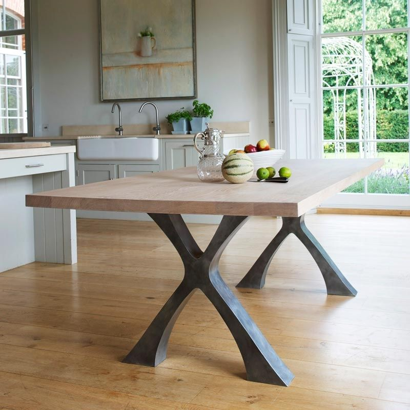 Dining tables with metal legs table legs pinterest for Wooden dining table designs