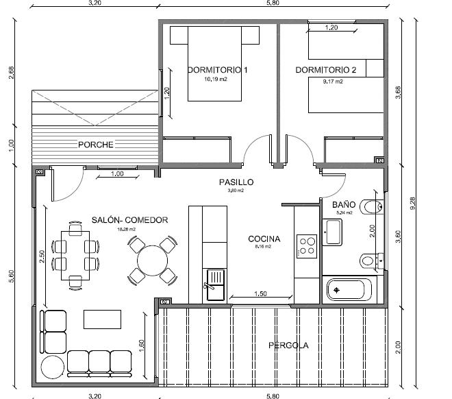 Modelo de 79 m2 con cocina americana y dos dormitorios - Modelos de dormitorios ...