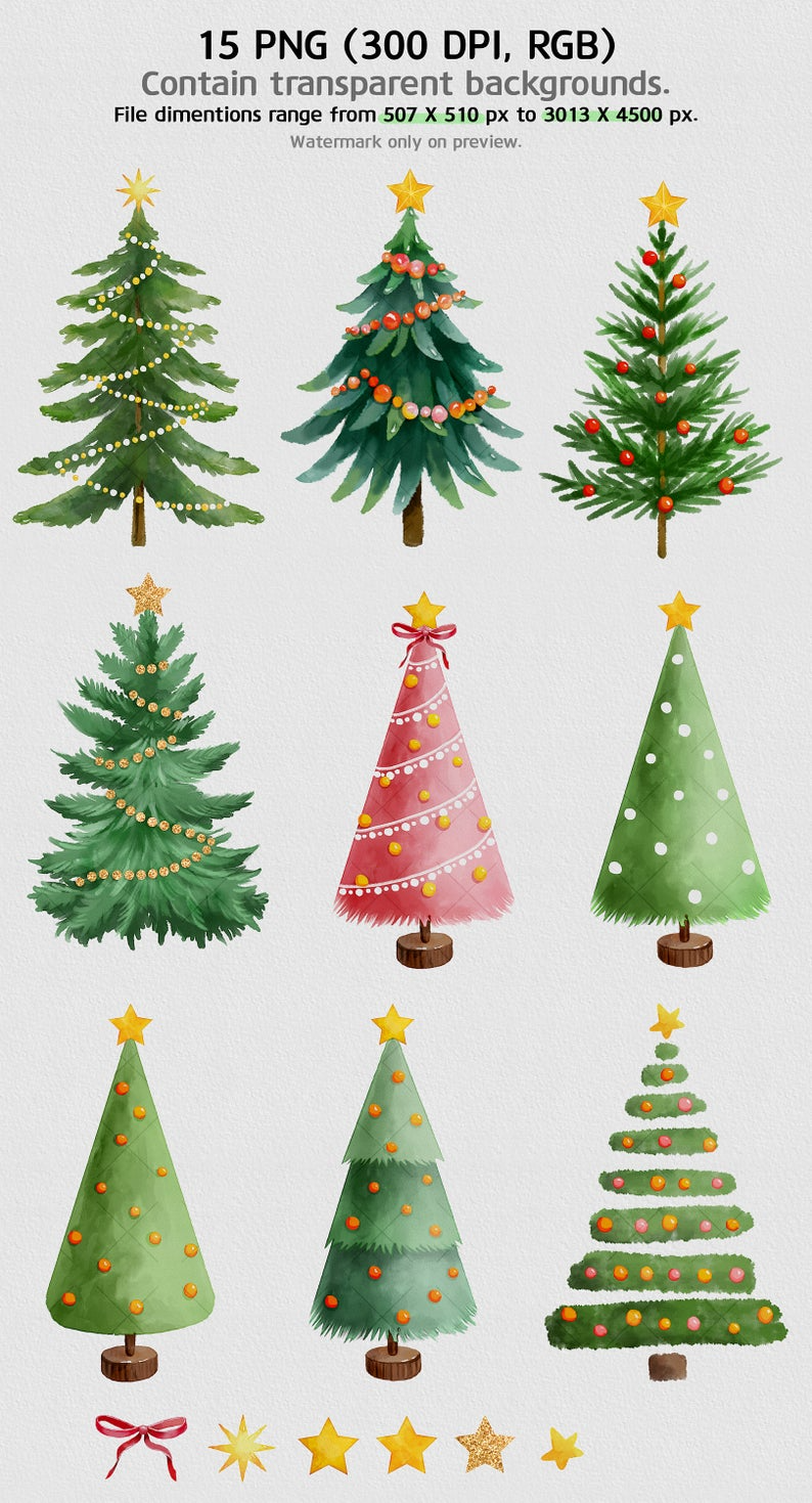 Christmas Trees Set Holiday Clipart Watercolor Christmas Etsy Holiday Clipart Christmas Watercolor Christmas Tree Set