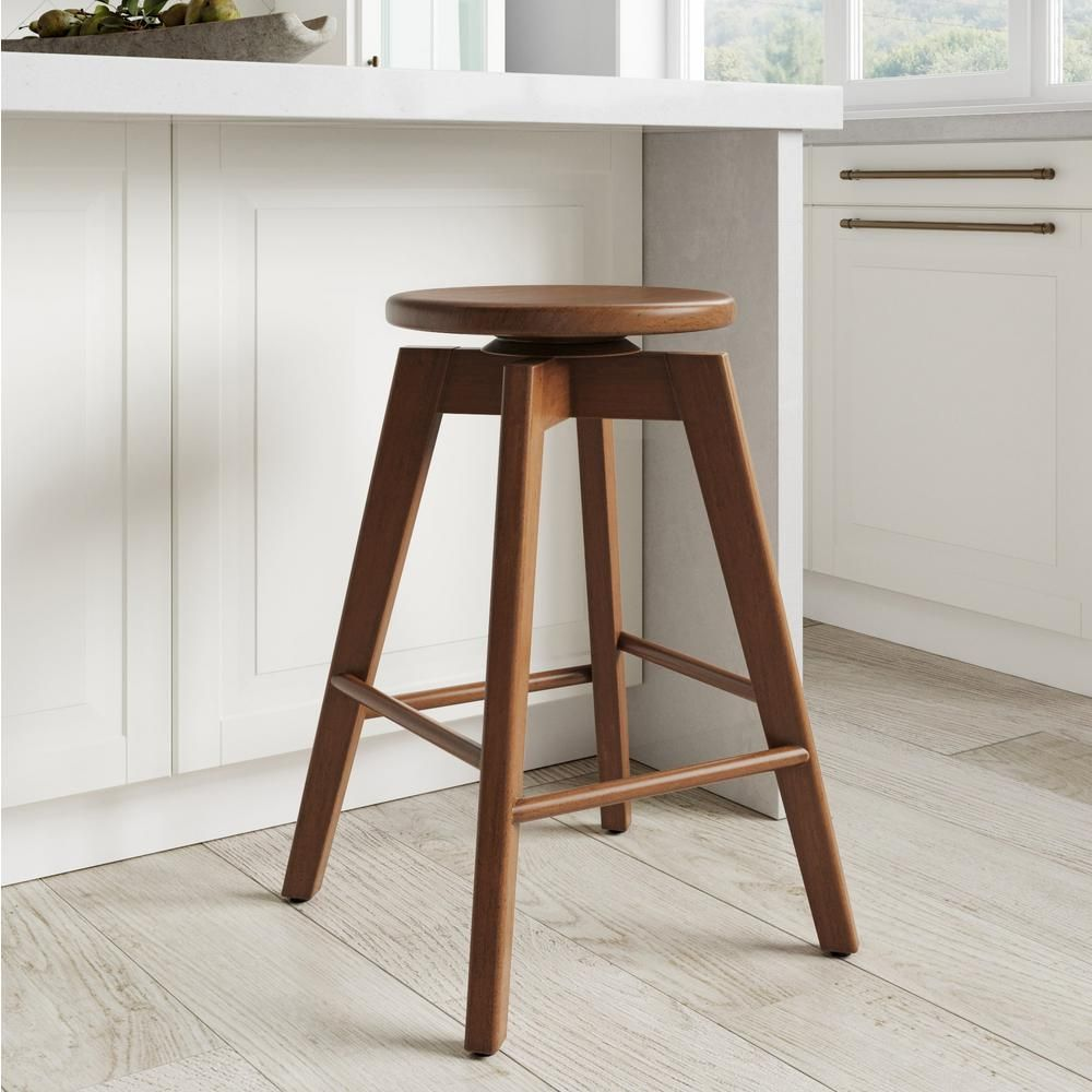 Nathan James Amalia 25 In Antique Coffee Or Brown Backless Counter Height 360a Swivel Seat Solid Wood Bar Stool In 2020 Wood Bar Stools Bar Stools Backless Bar Stools