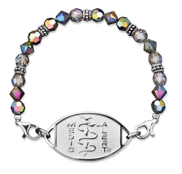 "SWAROVSKI Iridescent Crystals Medical ID Bracelet - ""SHELLFISH ALLERGY"""