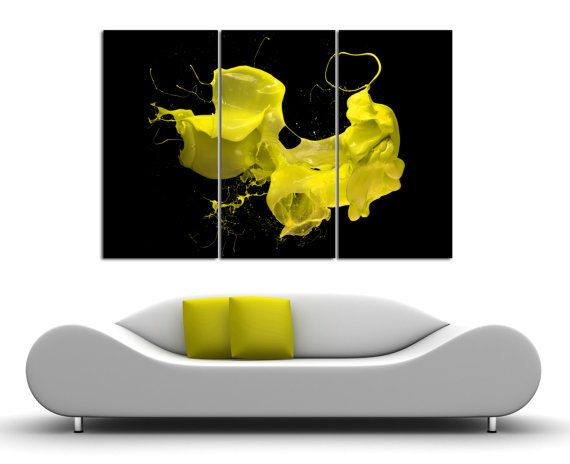 3 Panel canvas paint splash, Split Abstract canvas Print. Yellow ...